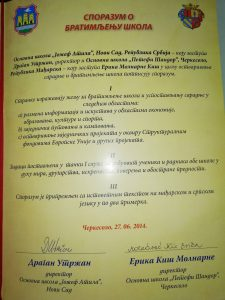 "Sporazum o saradnji sa OŠ,,Petefi Šandor"" u Čerkesolu-Mađarska"